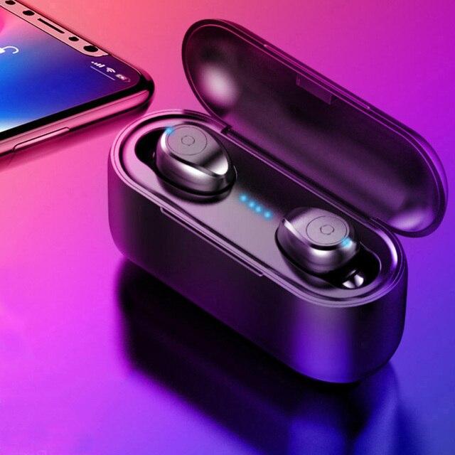 TWS Bluetooth 5.0 Tai Nghe Không Dây Tai Nghe Nhét Tai dành cho Redmi Note 4 điện thoại Stereo Tai Nghe Nhét Tai sạc có hộp 3500 mAh Power Bank