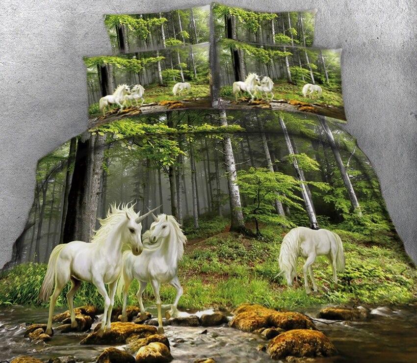 Набор постельного белья с 3D изображением единорога, Комплект постельного белья с 2 односпальными двуспальными постельными принадлежностям... - 4