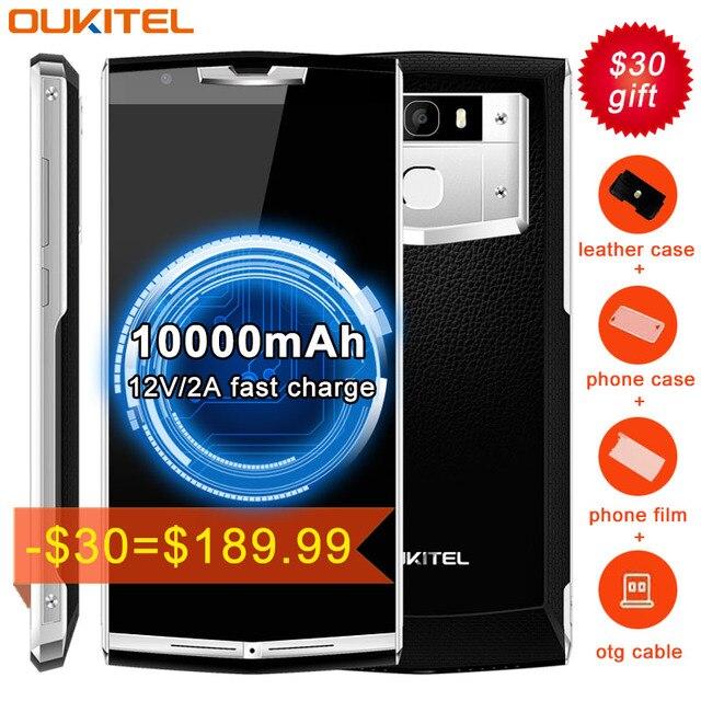 10000 мАч 4 г Смартфон Oukitel K10000 Pro 3 ГБ + 32 ГБ нажмите идентификации отпечатков пальцев Android 7.0 MTK6750T Octa core 1.5 ГГц OTG
