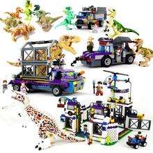 лучшая цена LEGOings Jurassic World 2 Dinosaurs Figures Building model kits Tyrannosaurus Rex Brick Children Boy Dinosaurs Toys Kids Gift