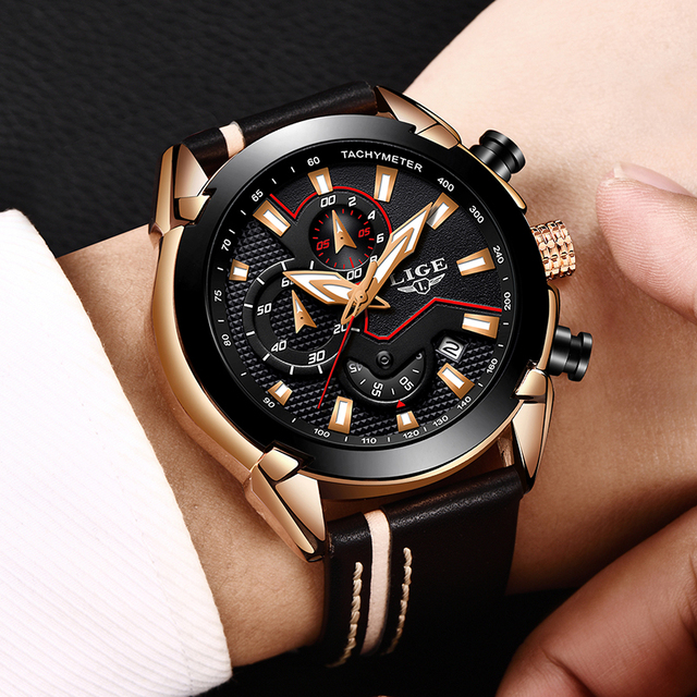 LIGE Men's Fashion Design Leather Date Chronograph Quartz Watches 4