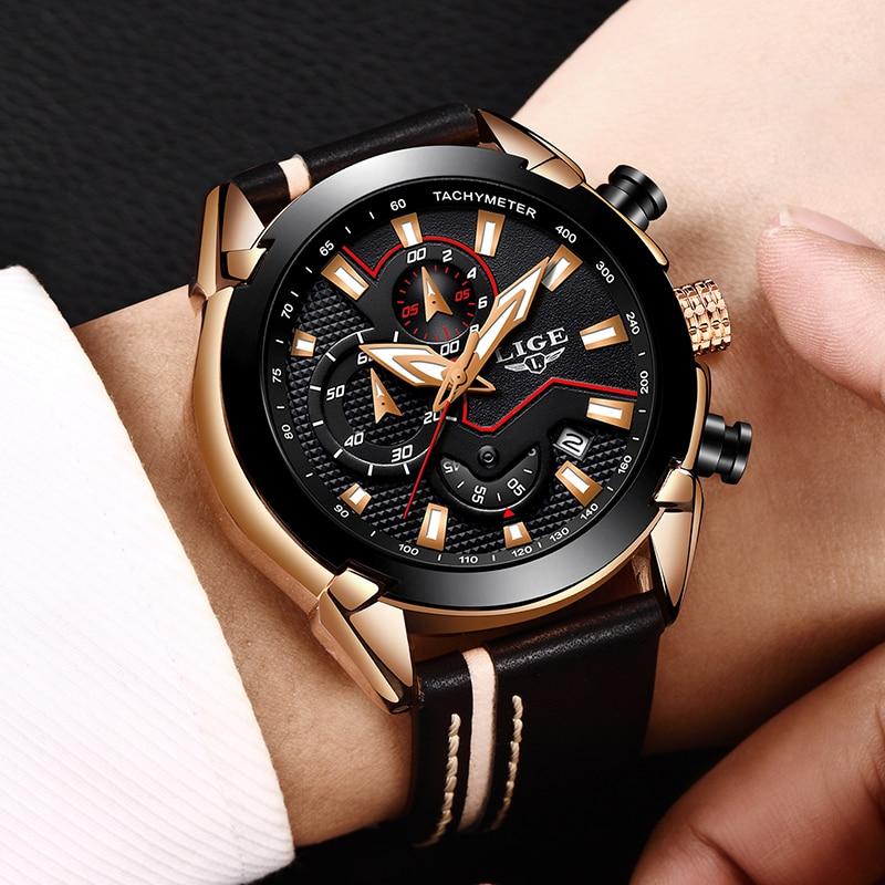 2018 Nya LIGE Design Mode Klockor Klockor Herr Läder Sport Datum - Herrklockor - Foto 5