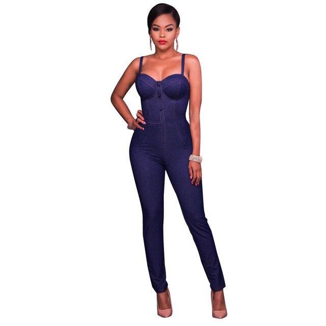 c9088a632fd Hot Sale Fashions Women Cammi Denim Faux Button Front Fitted Jumpsuit L55334