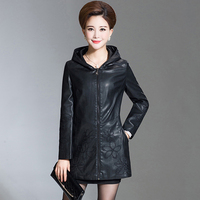 Best Quality Womens Winter Leather Coat Female Long Jacket Hooded Leather Clothing Plus Size 6XL Leather