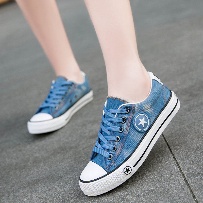 Women Canvas Shoes Star Summer Casual Shoe Trainers Walking Skate Shoes Flats Tenis Chaussure Femmes Denim shoes Plus Size e lov women casual walking shoes graffiti aries horoscope canvas shoe low top flat oxford shoes for couples lovers