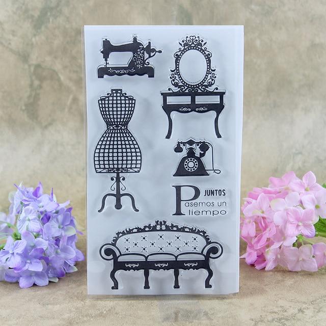 Sewing Dresser Sofa Telephone Juntos Scrapbook DIY Photo Cards Account Rubber Stamp Clear Transparent 2011CM