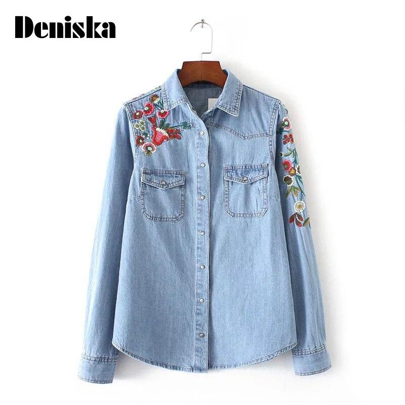 Deniska mujeres vestidos vintage de flores bordado bolsillos denim blusas casual