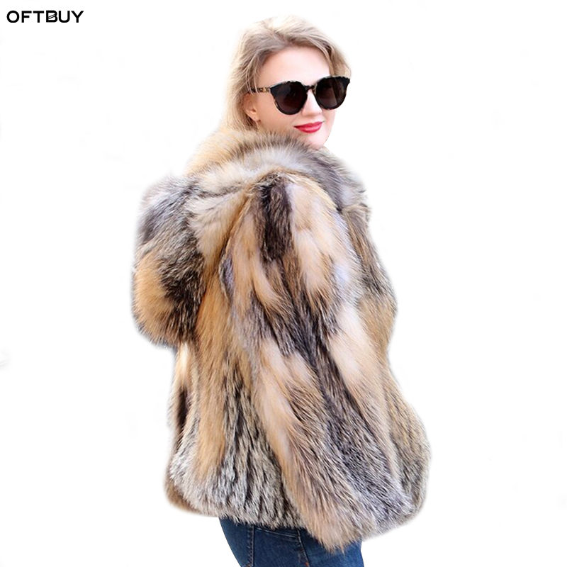 OFTBUY 2019 Genuine Real Fox Fur Coat Parka Winter Women Jacket with Fur Hood Golden Thick