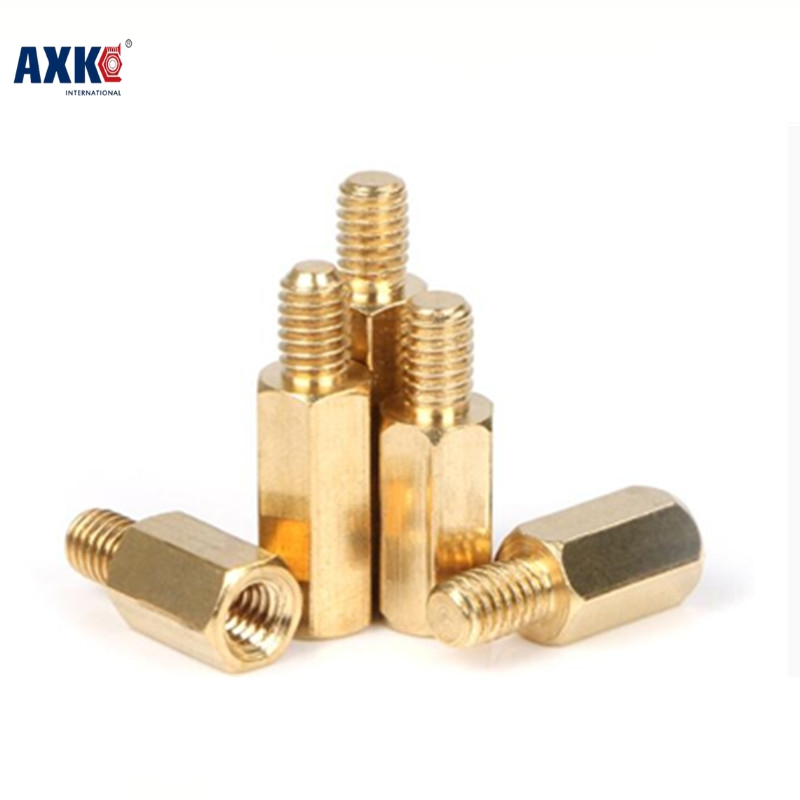 Axk 100pcs Male To Female Brass Spacer M2*3/4/5/6/7/8/910/11/12/13/14/15/16/17/18/19/20+3 2mm Brass Hex Standoff m2 3 3 1pcs brass standoff 3mm spacer standard male female brass standoffs metric thread column high quality 1 piece sale