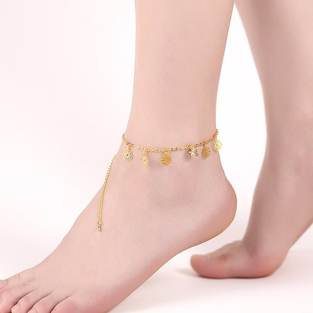 Flower Shape Hollow Anklets For Women Gold Color Casual Jewelry Fashion Foot Chain Accessorise (JewelOra AS101648)
