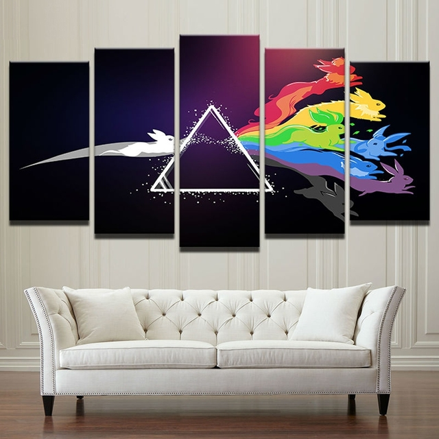 Frame 5 Panel Music Theme Canvas Painting Modular Picture Wall Art Home Decoration For Living Room