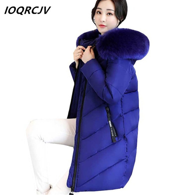 Flash Promo 2018 Thicker Big Fur Collar Winter Jacket Women Plus Size 6XL Down Cotton Jackets Padded Parkas Casual Hooded Long Overcoat S162