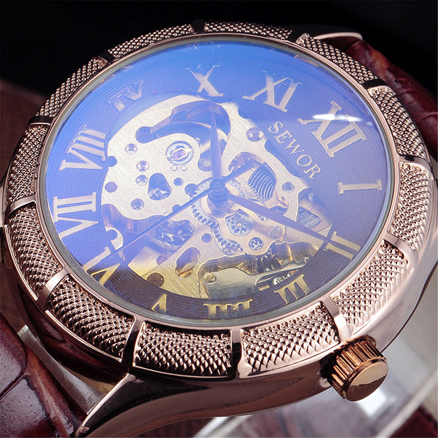 Luxury Skeleton Watch Men SEWOR Classic Retro Roman Dial Leather Relogio Masculino Vintage Dress Automatic Mechanical Watches