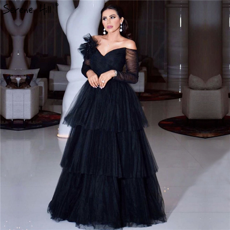 Black Tiered Off Shoulder Sexy Evening Dresses 2019 Latest Design Long Sleeves A-Line Evening Gowns Serene Hill LA70065
