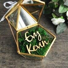 Caja de anillos de boda personalizada, caja de anillo personalizada, soporte de anillo de cristal geométrico, regalo de boda personalizado, Personaliza tus nombres