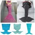9 Color Hot Sell Super Soft Sleeping Bed Handmade Mermaid Tail Blanket Crochet Mermaid Blanket Kids Adult Girls Throw Bed Wrap
