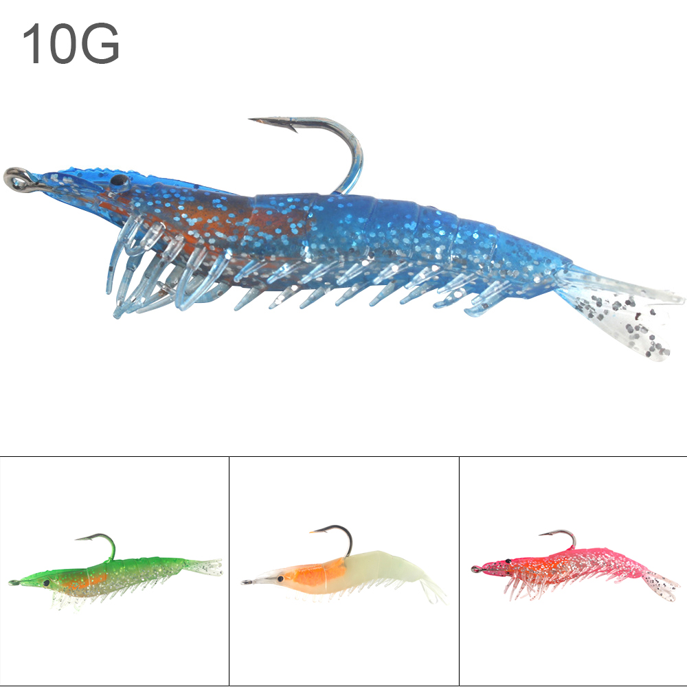1pc 9cm 10g Colorful Soft Shrimp Fishing Lures Luminous Prawn Bait Built-in Lead Hook with 4 Colors Optional