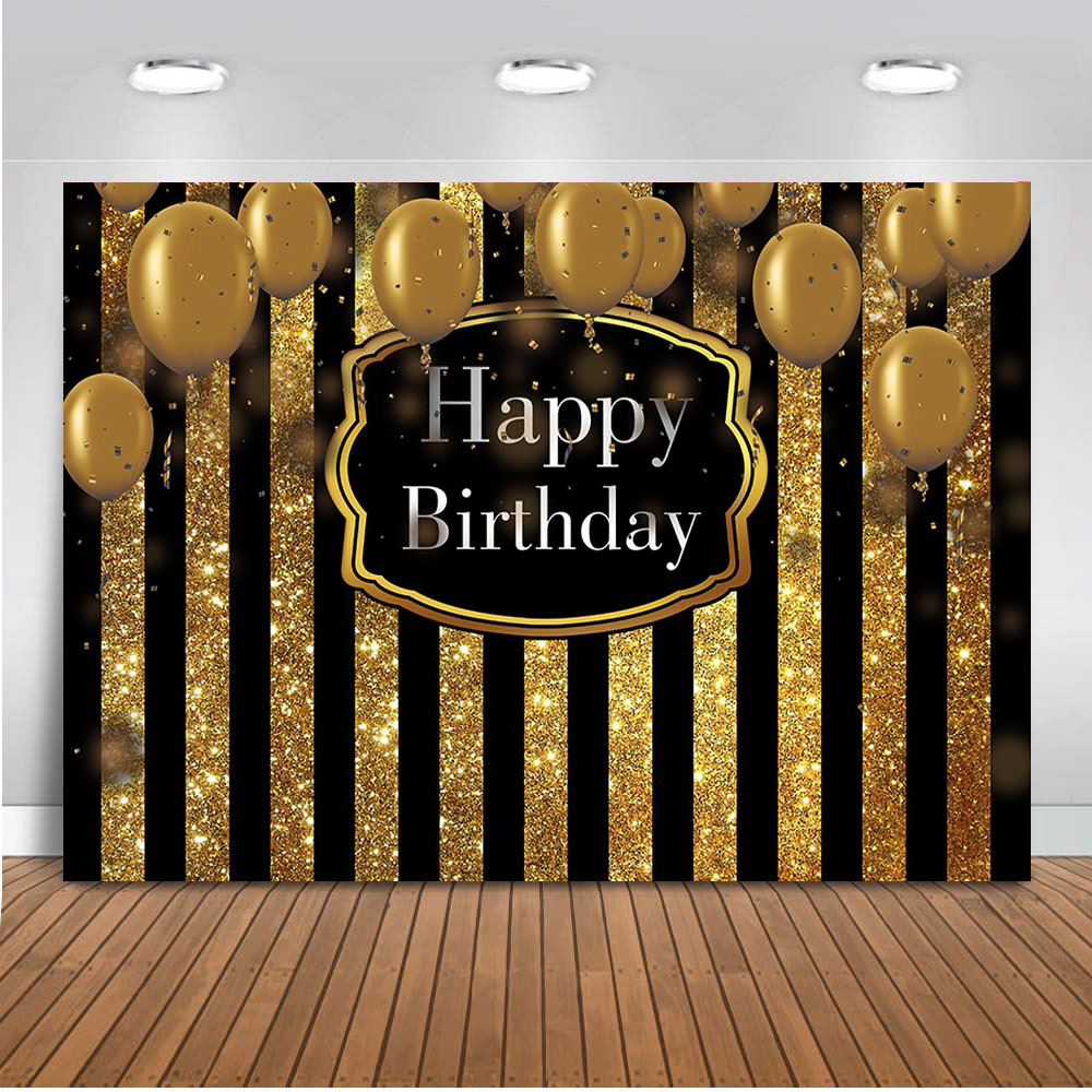 Happy Birthday Theme Party Decoration Banner Black And Gold Stripe Backdrop For Photography Golden Balloons Children Background Aliexpress