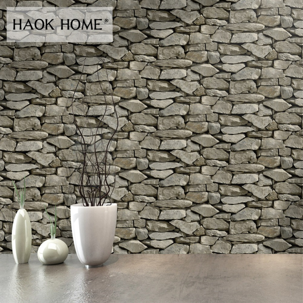 3D Brick Stone Rock Print Wallpaper Real Image Countryside Style Home Decoration