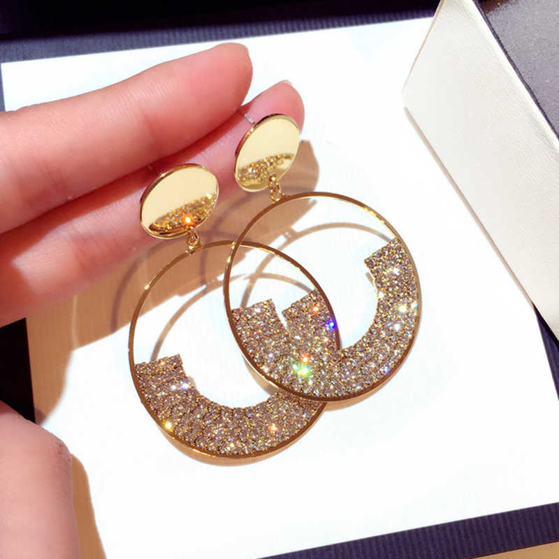 Crystal Drop Earrings Luxury Shining Gold Color Geometry Round Rhinestone Dangle Earring for Women Wedding Party Jewelry