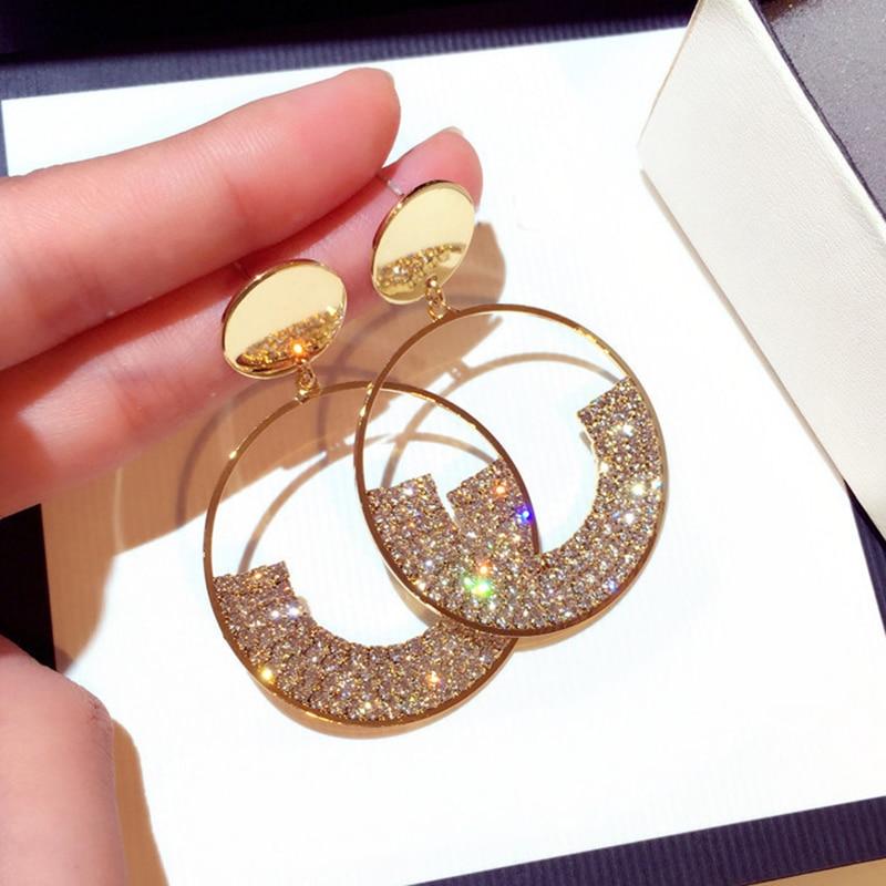 Crystal Drop Earrings Luxury Shining Gold Color Geometry Round Rhinestone Dangle Earring for Women Wedding Party Jewelry
