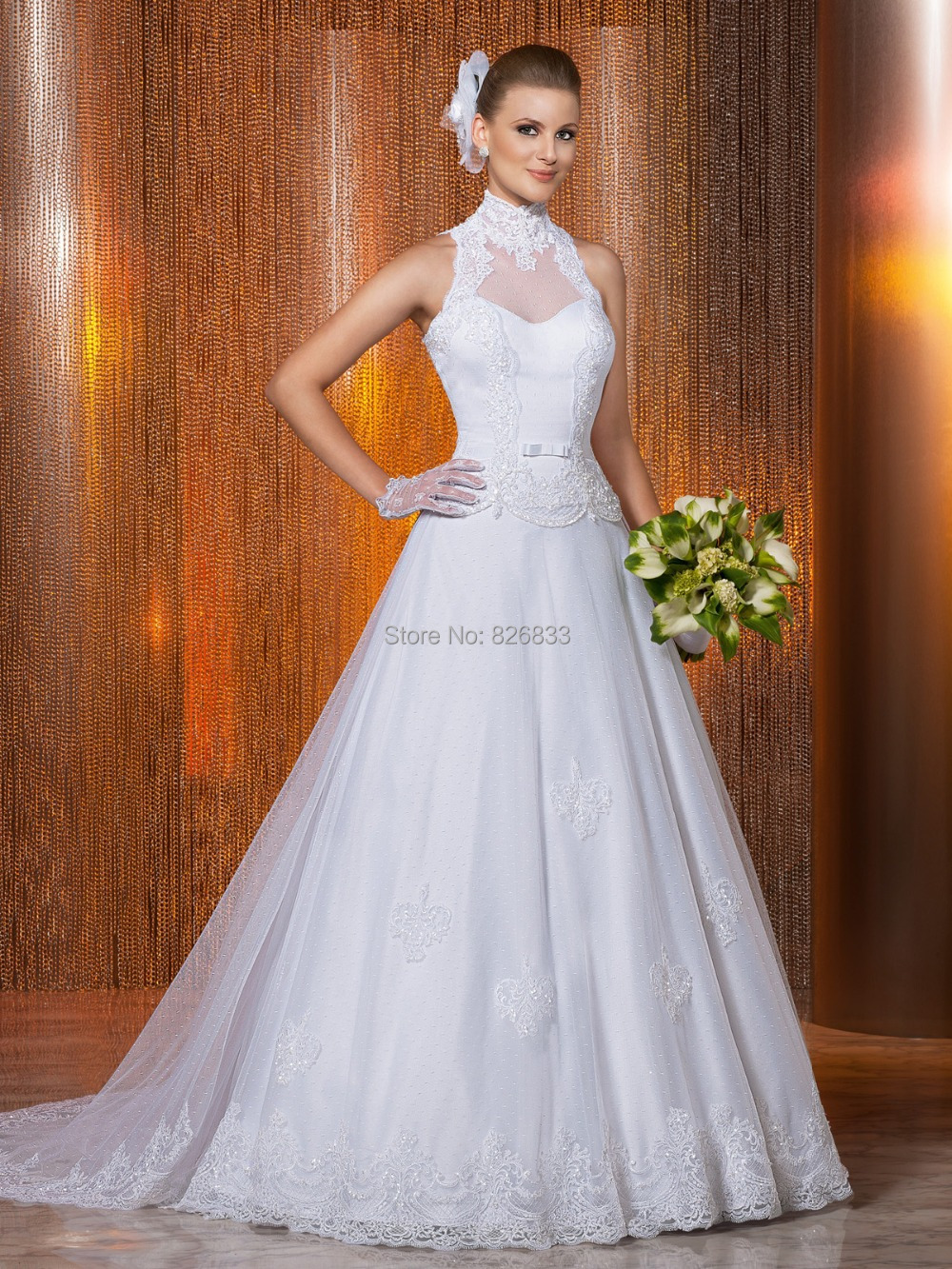 Royal princess style white lace and tulle wedding dress for Princess cut wedding dresses