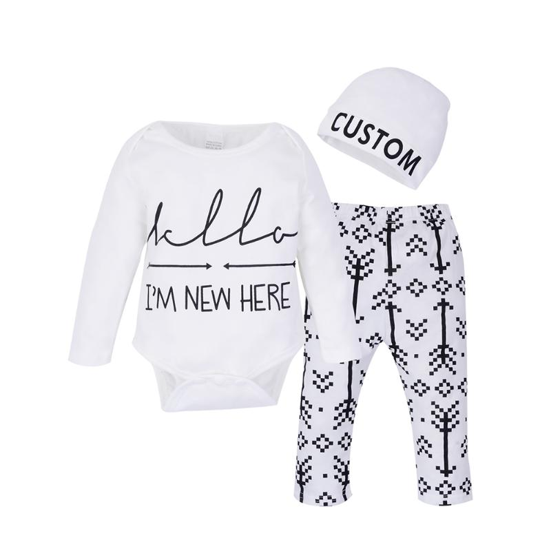 3pcs Infant Unisex Autumn Winter Fashion Clothing Set Baby Boy Girl Arrow Letter Print Jumpsuit+ Pants + Hat Outfits Clothes