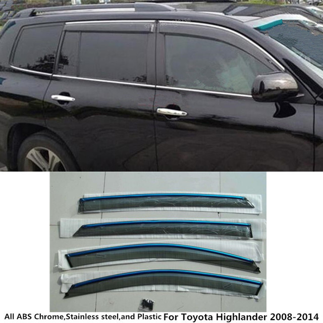 Car body plastic Window glass Wind Visor Rain Sun Guard Vent frame 4pcs for Toyota  Highlander 2008 2009 2010 2011 2012 2013 2014 6bc2eb11455