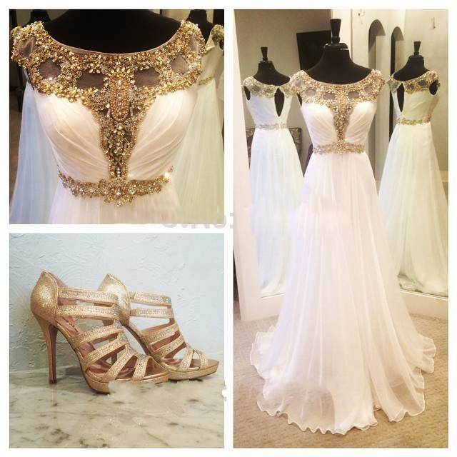 Vestido dorado con blanco