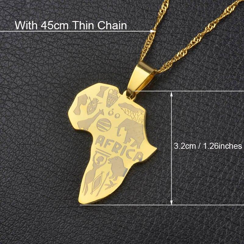 Anniyo кулон Карта Африки ожерелье для женщин мужчин серебро/золото Цвет эфиопские ювелирные изделия карты Африки хип-хоп Пункт#132106 - Окраска металла: With 45cm Thin Chain