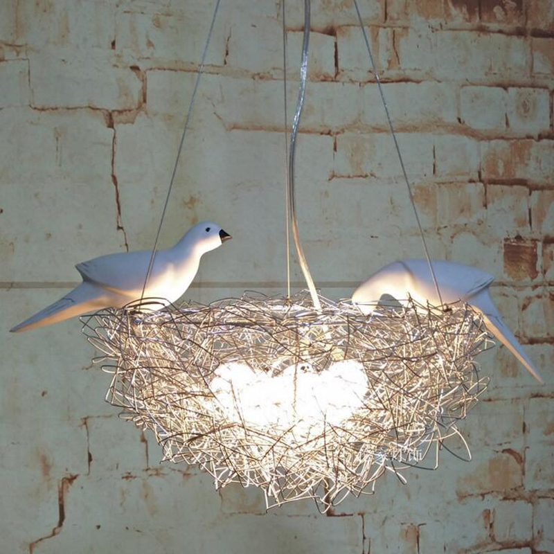 Творческий Птичье гнездо люстра светодио дный алюминиевый провод bird яйцо люстра Nordic искусства Детская комната ресторан исследование свето...
