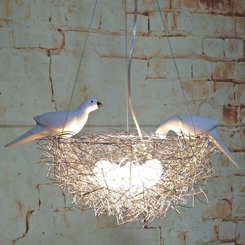 Creative oiseau nid de lustre led en aluminium fil oiseau oeuf d'oiseau lustre Nordique art enfants de chambre restaurant étude led lampes