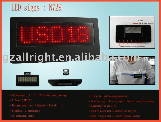 led name badge red N729 Led Signs Scrolling badge led message signs (100% quality assurance Free shipping)