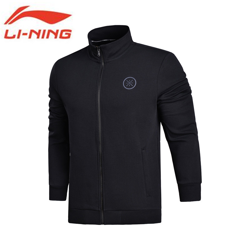 Li-Ning 2018 Men Wade Sweaters Slim Fit Zip Stand Neck Jackets Interlock Knit Fitness Comfort Li Ning Sports Sweaters AWDN095 li ning men wade short down jacket at proof wind comfort lining winter jackets aymm183 mwy267
