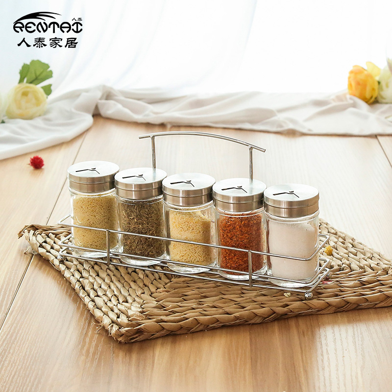 Kitchen supplies glass bottle seasoning box sealed cans sugar and salt seasoning storage set belt shelf