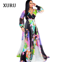 XURU Women Long Maxi Dress Floral Printed Long Sleeve V Neck Belted Chiffon Dresses Casual Beach Loose Dress Plus Size S XXL