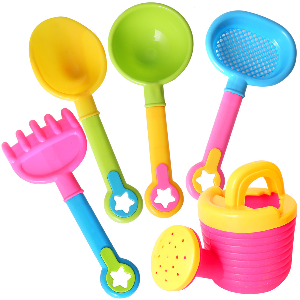 5pcs/set Plastic Beach Toys Watering Can Fishing Net Shovel Rake Outdoor Beach Sand Play Toys For Children Kids Girls Gift Relieving Rheumatism And Cold Toys & Hobbies Classic Toys