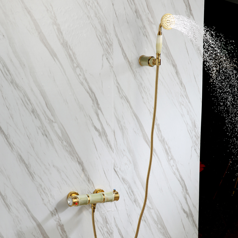 Ensemble de robinet de douche de salle de bains en jade naturel en laiton doré de luxe ensemble de mitigeur de baignoire mural