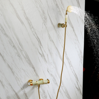 Luxury Gold Brass Natural jade Bathroom shower Faucet set Wall mounted Bathtub Mixer faucet Shower Combo Set