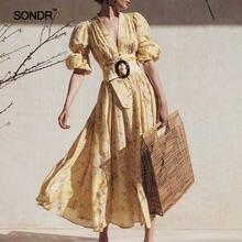 Женское винтажное праздничное платье sondr однобортное с v образным