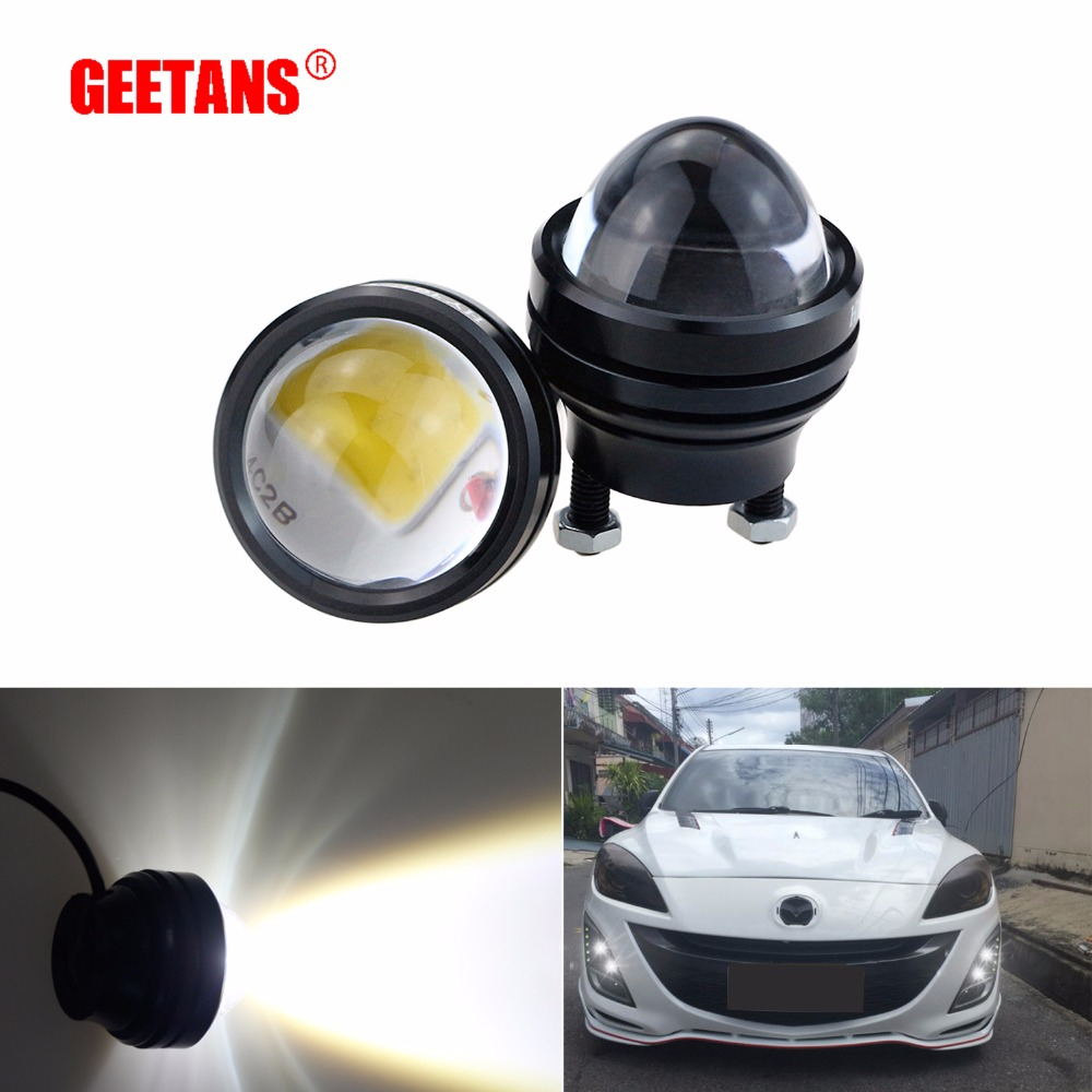 GEETANS 2PCS 15W 12V Car DRL Fish Eye Light LED Fog Lights Daytime Running Light Reverse Parking Light Lamp 100% Waterproof cyan soil bay 2pcs white 12 4014 smd led eagle eye motorcycle car parking fog backup light drl lamp 23mm
