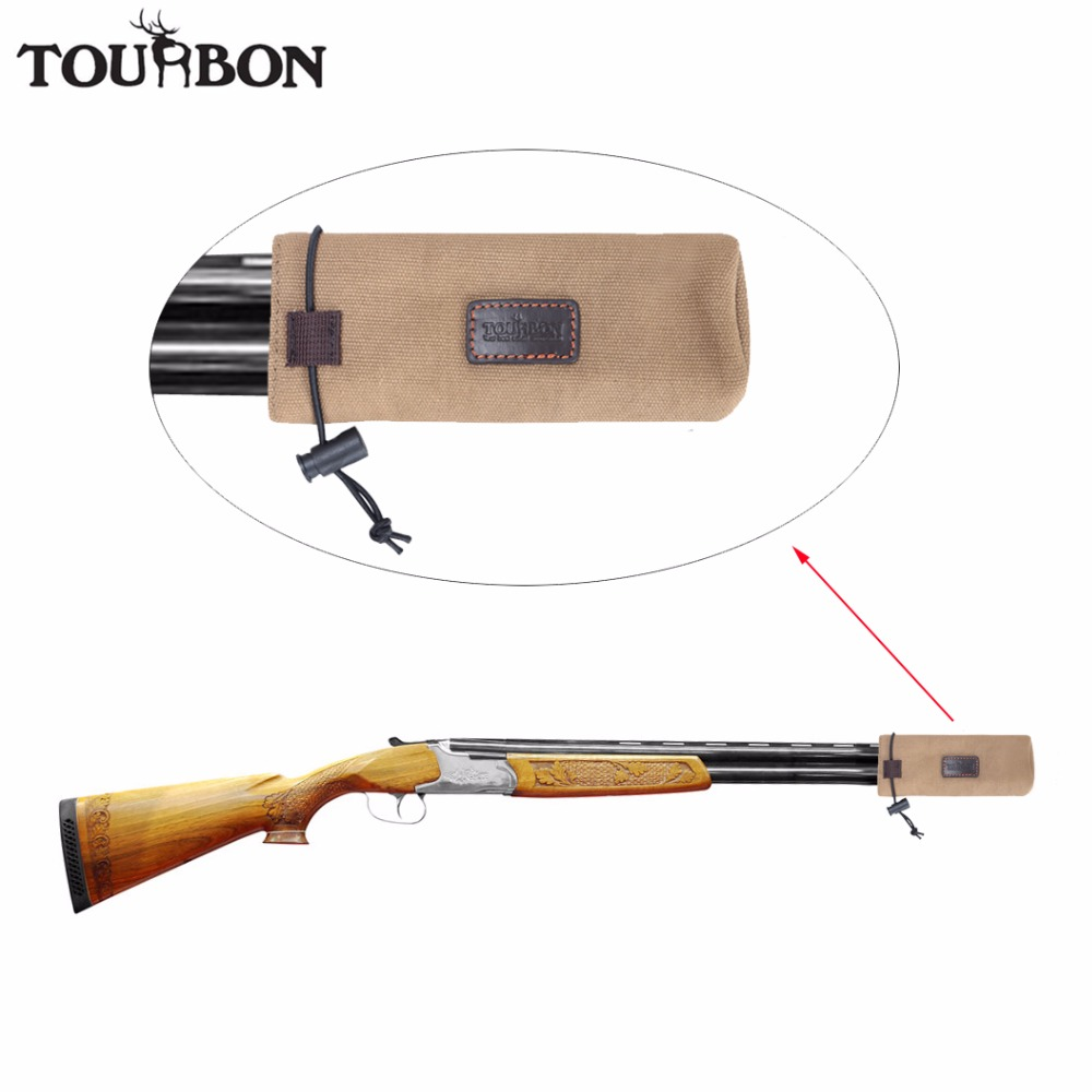 Tourbon Hunting Gun Barrel Protector Canvas Holder Pouch Aganist Clay Brown Color Gun Accessories