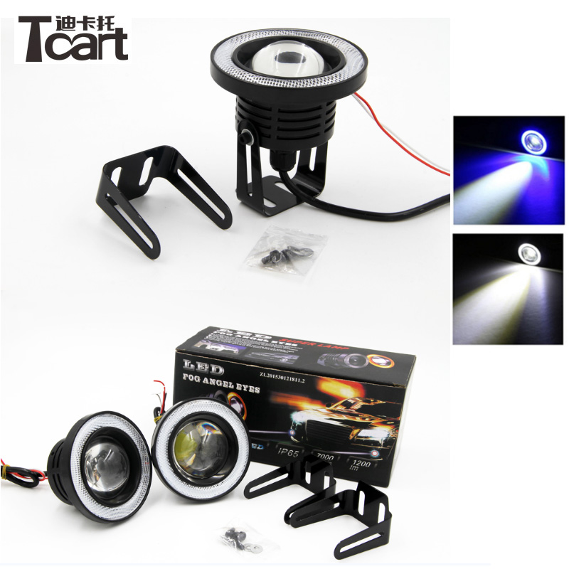 Tcart 2x Auto LED Fog <font><b>Light</b></font> With Lens COB Angel Eyes Foglight 3 Inch Projector Halo Rings White Fog Lamp For Volkswagen <font><b>VW</b></font> <font><b>t4</b></font> t5 image