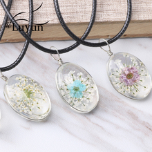 Luyun Oval Lace Flower Dried Necklace Jewelry Pendant  Crystal Wholesale Chain