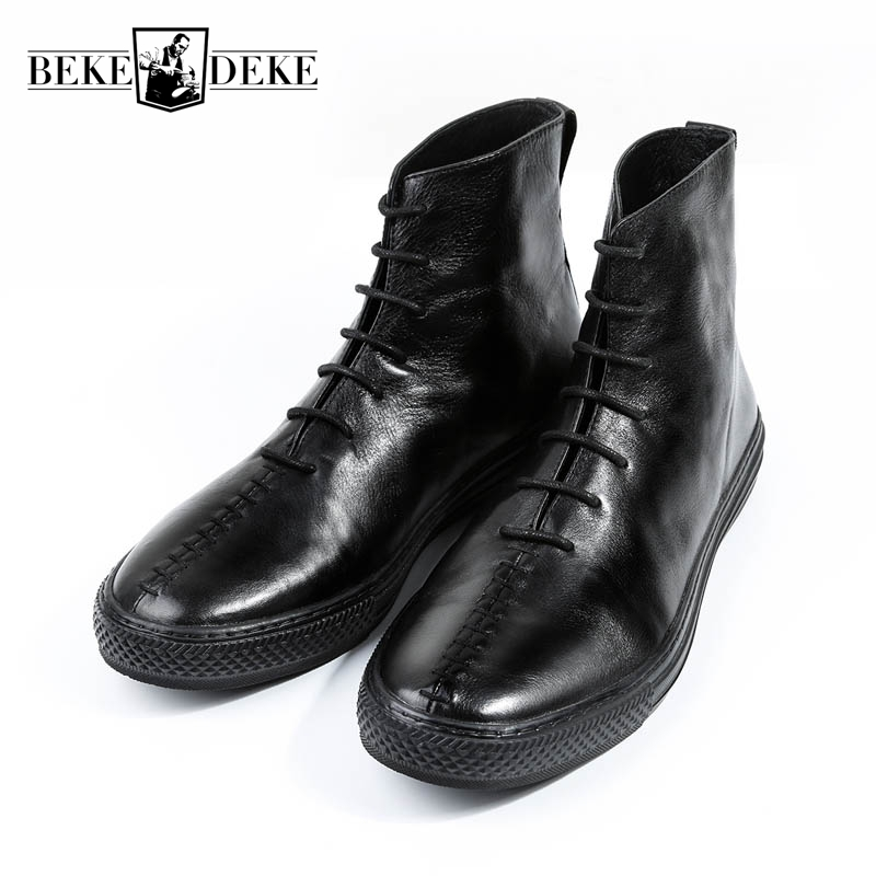 Top Quality Mens Winter New Fashion Genuine Leather Cow Round Toe Lace Up Motorcycle Boots Ankle Shoes Thick Bottom Matin Boots