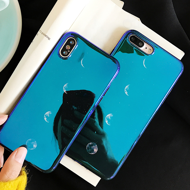 LOVECOM Blu-Ray Phone Case For iPhone 6 6S 7 8 Plus X Fashion Moon Smooth Soft  IMD Phone Back Cover Cases Coque b3508da6811e