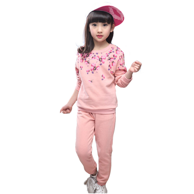 2016 Baby Kids Sport Clothes Sets Flower Printed Autumn Winter School Uniform For Girls Long-sleeve And Pants Clothing Sets