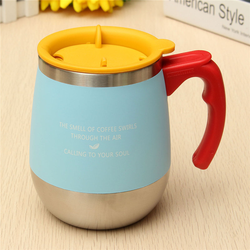 High Quality 450ML 304 <font><b>Stainless</b></font> <font><b>Steel</b></font> Simple Milk Tea Mug With <font><b>Handle</b></font> Anti-Dust Coffee <font><b>Cup</b></font> Water Bottle For Home Office Gifts