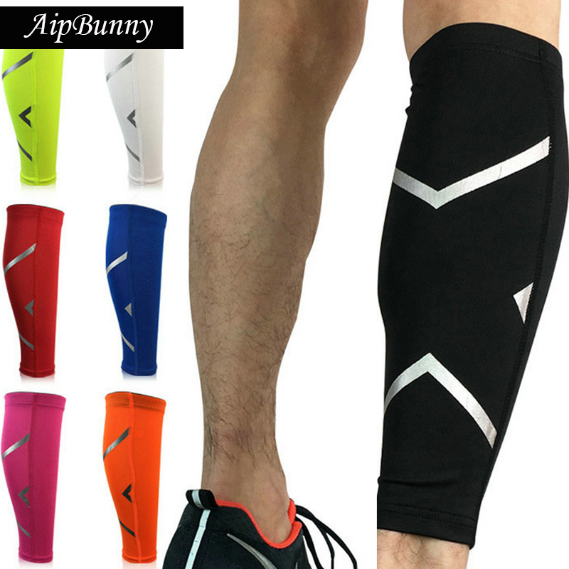 2 Pcs Sport Safty Running Jogging Reflective Calf Shin Guard Protector Sport Fitness Hiking Cycling Socks Brace Pad Gaiters