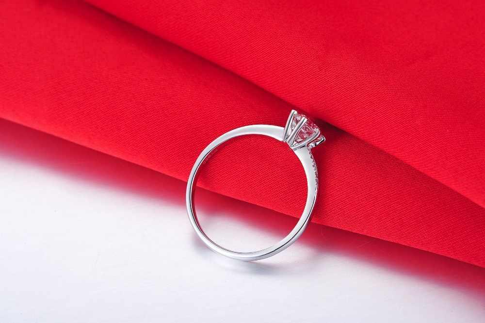 THREEMAN 0.6CT סלול טוויסט לדמות טבעת יהלום שיניים אירוסין נשים תכשיטי כסף סטרלינג 18 K זהב לבן בציפוי תכשיטים
